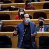 Pablo Iglesias, interviene durante la sesión de control al Gobierno