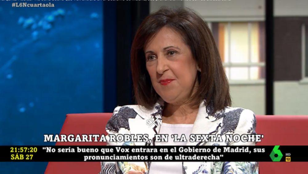 """Margarita Robles, sobre una posible entrada de Vox al Gobierno de Madrid: """"España necesita unos posicionamiento que no estén radicalizados"""""""