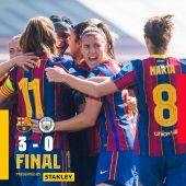 Las jugadores del Barça femenino celebran un gol ante el Manchester City