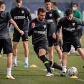 Orlando Sá en un entrenamiento del Málaga CF