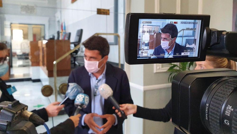 Carlos Mazón en una comparecencia ante los medios de comunicación