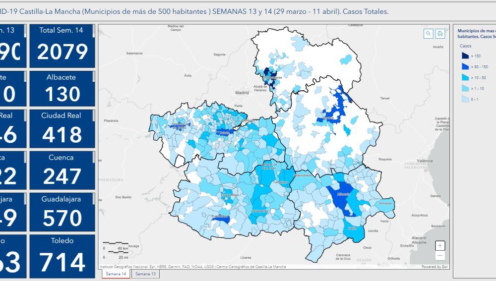 Mapa de la evolución del coronavirus en Castilla-La Mancha
