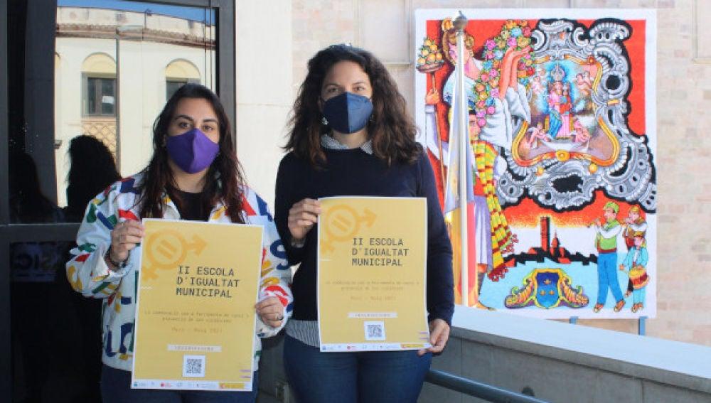 La rectora de la UJI Eva Alcón, y la alcaldesa de Burriana, Maria Josep Safont, han firmado la renovación de la colaboración  para continuar con la promoción de la igualdad de oportunidades