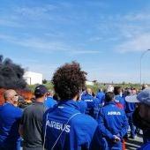 Trabajadores de Airbus durante las protestas