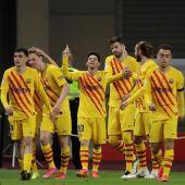 Leo Messi celebra su gol, tercero del equipo ante el Athletic