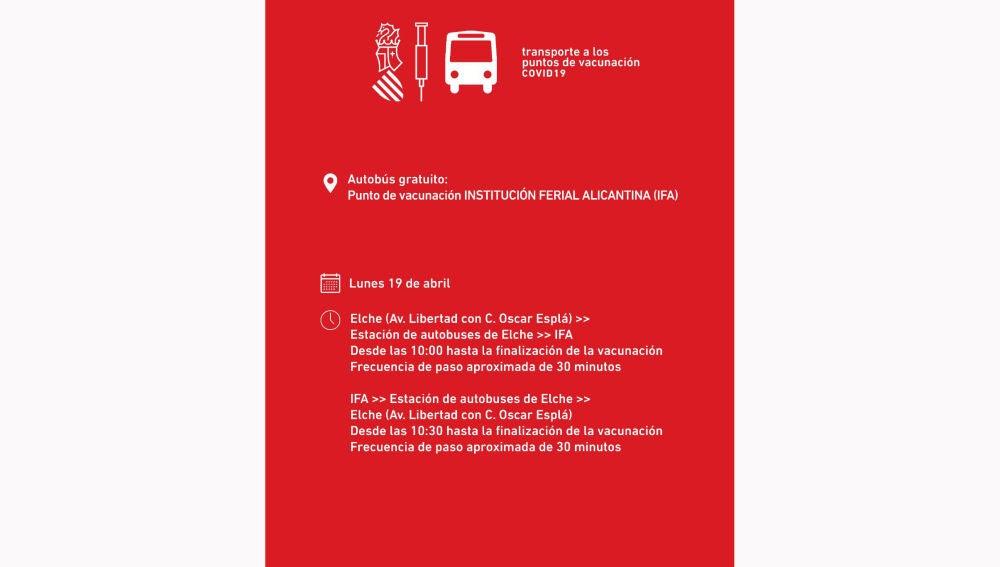 Horario transportes público a IFA desde Elche con motivo de la campaña de vacunación masiva contra la covid-19.