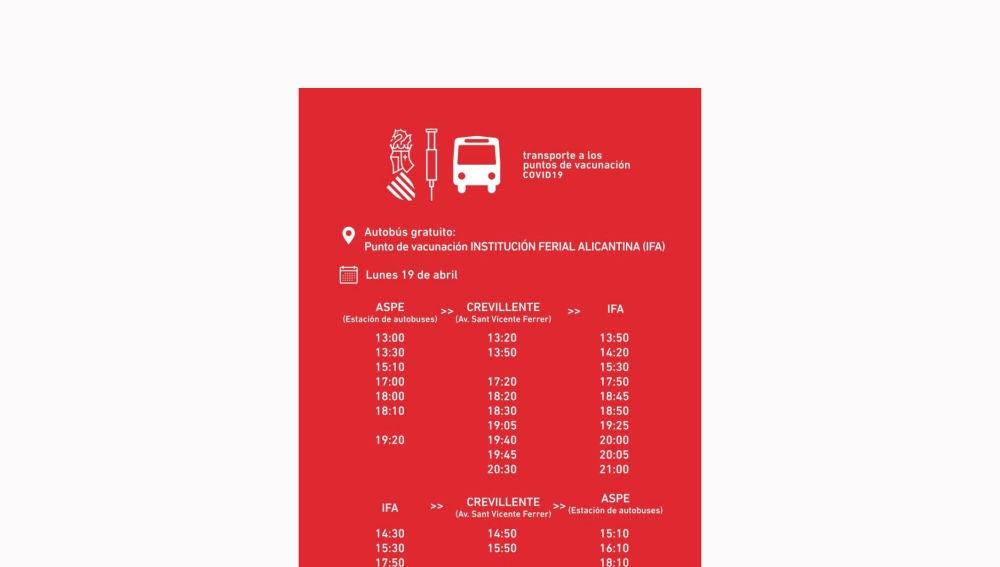 Horario transportes público a IFA desde Aspe y Crevillent con motivo de la campaña de vacunación masiva contra la covid-19.