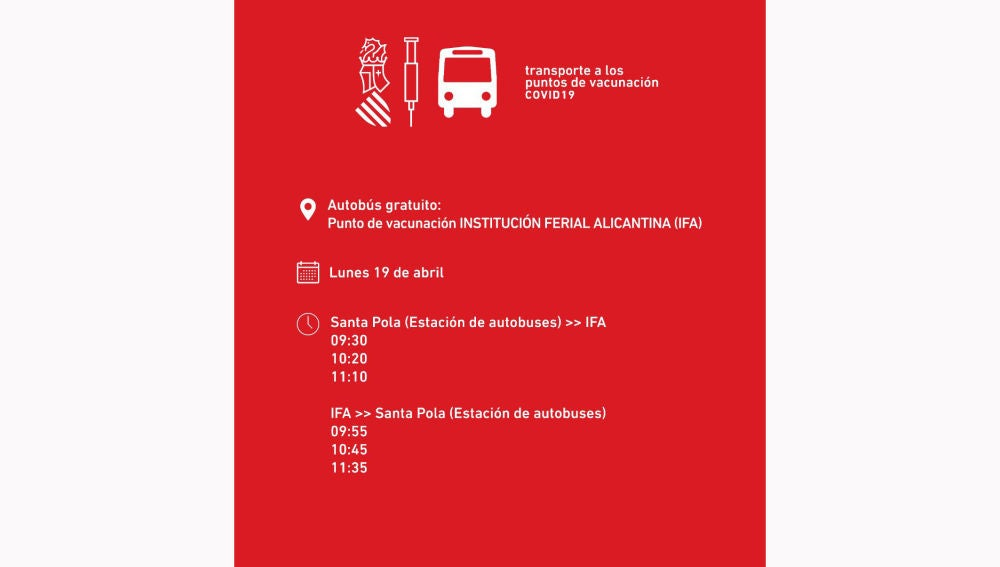 Horario transportes público a IFA desde Santa Pola con motivo de la campaña de vacunación masiva contra la covid-19.