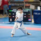 Daniel Miguez se queda a dos centésimas del bronce en el Nacional infantil de karate.