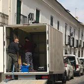 Los cuadrados del convento fueron trasladados por un camión fuera de Almagro