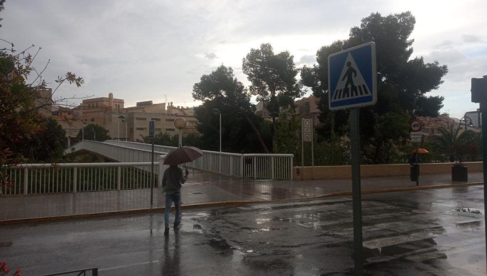 Ciudadano con paraguas en Elche.