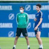 Borja Sánchez y Ziganda en un entrenamiento del Real Oviedo