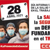 Cartel de la concentración de CCOO y UGT para el 28 de abril