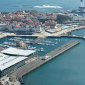 Vista aérea del puerto de A Coruña