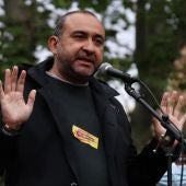 Javier Pacheco, líder de CCOO a Catalunya, en una protesta davant la delegació del govern espanyol a Barcelona