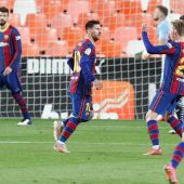 Leo Messi tras marcar el primer gol al Valencia CF