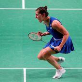 Carolina Marín, celebrando su quinto Europeo consecutivo
