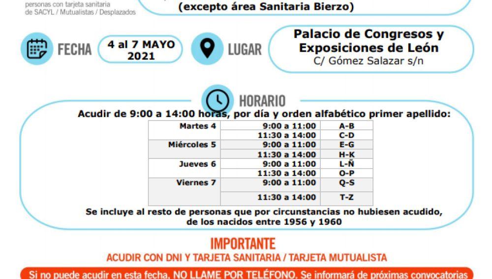Vacunación para nacidos en 1961 en León
