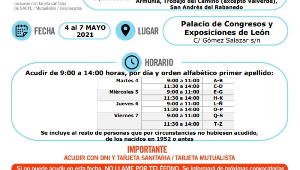 Vacunación para los nacidos en 1953 en León