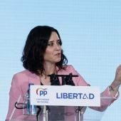 Isabel Díaz Ayuso, en el acto electoral del Partido Popular.