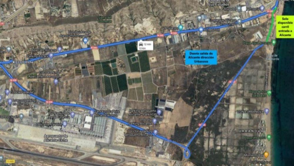 Itinerario alternativo hacia el Aeropuerto-Urbanova