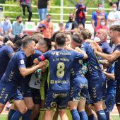 El UCAM Murcia CF celebrando el pase a la final de los playoffs de ascenso a Segunda División