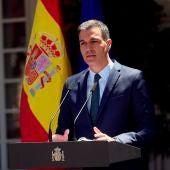El presidente del Gobierno, Pedro Sánchez, en su declaración institucional.
