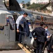 Pedro Sánchez, a su llegada a Ceuta