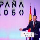 El presidente del Gobierno, Pedro Sánchez, durante la presentación del proyecto España 2050.