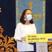 La portavoz del gobierno, Melania Álvarez, durante la rueda de prensa de esta mañana