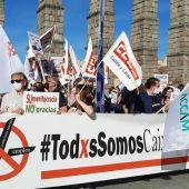 Manifestación en contra del ERE por la fusión de Bankia y Caixabank