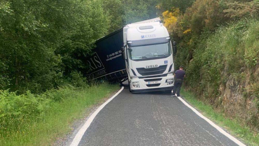 Salida de vía de un camión