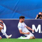 Puado celebra el gol que mete a España en las semifinales del Europeo sub 21