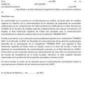 Carta de la Federación para cesión derechos TV a clubes Primera Federación