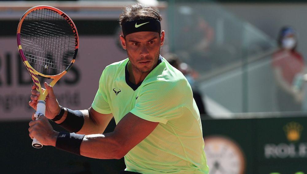 Rafa Nadal en un partido de Roland Garros