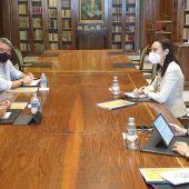 Instantes de la reunión con la RAE en Madrid