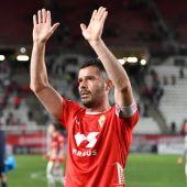 Víctor Curto celebra su último gol con el Real Murcia