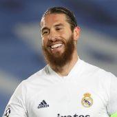 Sergio Ramos en un partido de Champions con el Real Madrid