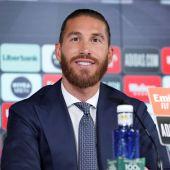Sergio Ramos durante su rueda de prensa de despedida del Real Madrid