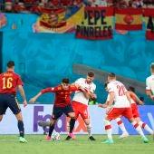Imagen del partido entre España y Polonia de la Eurocopa.