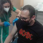 Una de las personas que se han vacunado hoy en Ciudad Real