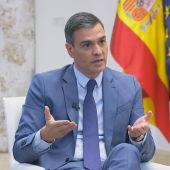 Pedro Sánchez, presidente del Gobierno, en el Palacio de la Moncloa