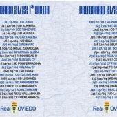 Calendario del Real Oviedo, temporada 2021-22.
