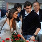 Sara Carbonero e Iker Casillas, durante un partido del Open de Madrid de tenis.
