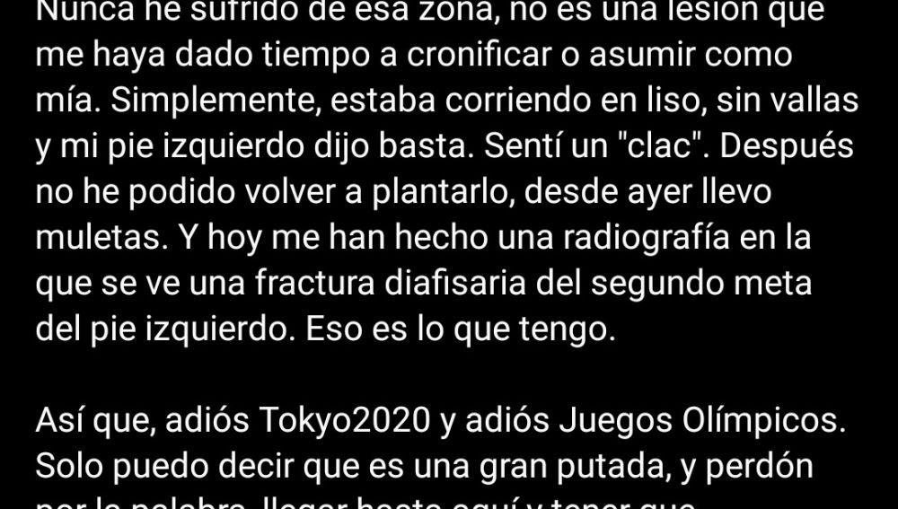 Mensaje Sánchez-Escribano en Twitter