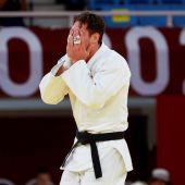 Nikoloz Sherazadishvili llora tras ser eliminado en Tokio 2020