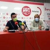 Javier Lanero, secretario genreal de UGT Asturias, y Daniel Ripa, secretario general de Podemos Asturias.