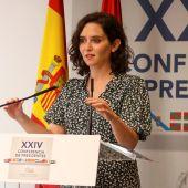La presidenta de la Comunidad de Madrid, Isabel Díaz Ayuso, comparece tras la Conferencia de Presidentes