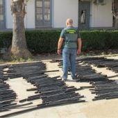 Los trozos de cable cobre robados