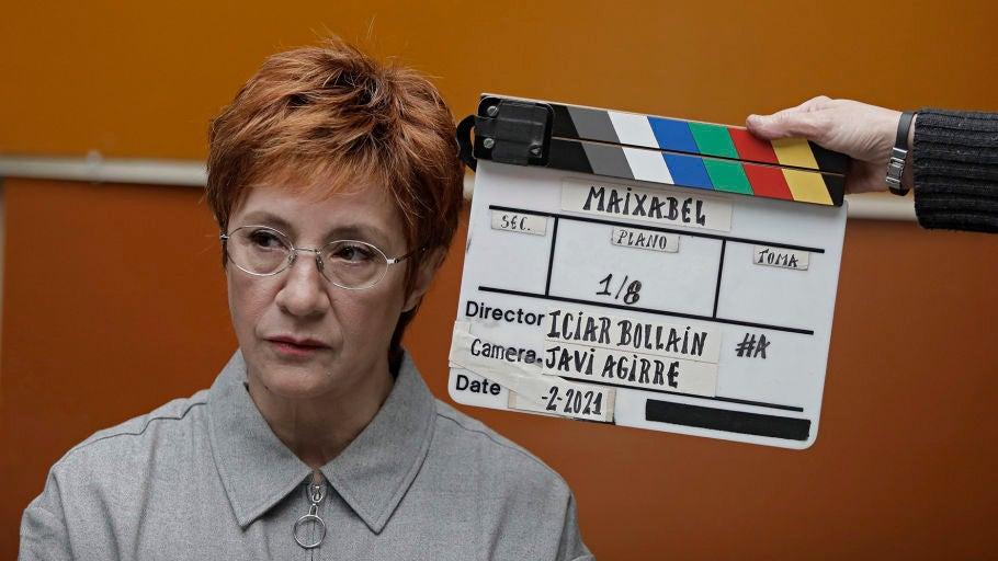 La actriz Blanca Portillo, caracterizada como Maixabel Lasa en el rodaje de la película 'Maixabel', de Icíar Bollain